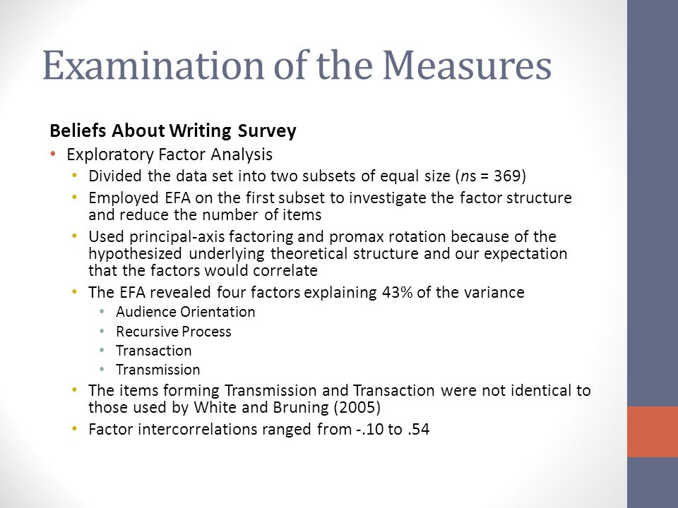 Examination of the Measures Beliefs About Writing Survey Exploratory Factor Analysis Divided the data set into two subsets of equal size (ns = 369) Employed EFA on the first subset to investigate the factor structure and reduce the number of items Used principal-axis factoring and promax rotation because of the hypothesized underlying theoretical structure and our expectation that the factors would correlate The EFA revealed four factors explaining 43% of the variance Audience Orientation Recursive Process Transaction Transmission The items forming Transmission and Transaction were not identical to those used by White and Bruning (2005) Factor intercorrelations ranged from -.10 to.54