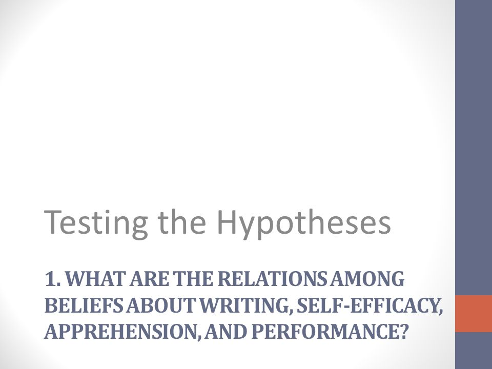 1. WHAT ARE THE RELATIONS AMONG BELIEFS ABOUT WRITING, SELF-EFFICACY, APPREHENSION, AND PERFORMANCE? Testing the Hypotheses