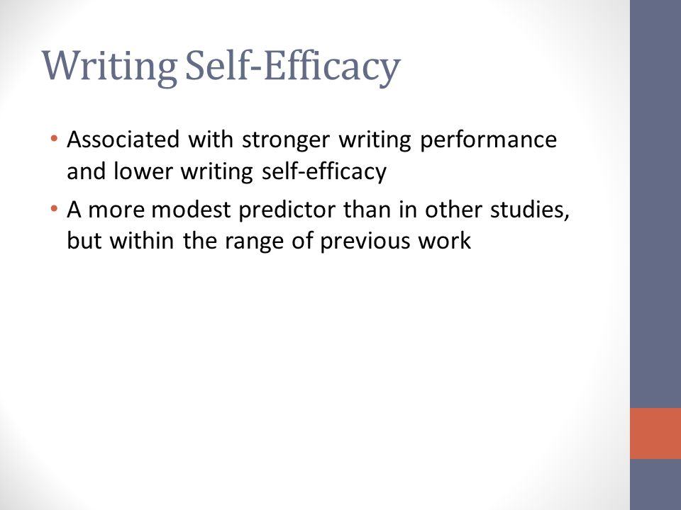 Writing Self-Efficacy Associated with stronger writing performance and lower writing self-efficacy A more modest predictor than in other studies, but within the range of previous work