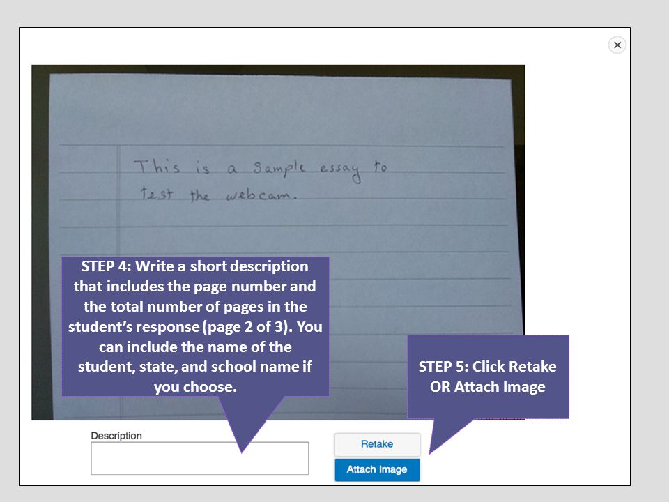STEP 4: Write a short description that includes the page number and the total number of pages in the student's response (page 2 of 3). You can include
