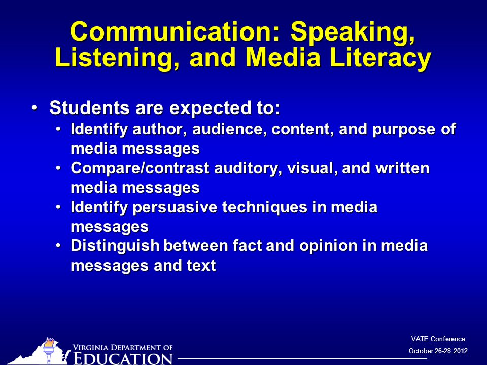 VATE Conference October 26-28 2012 Communication: Speaking, Listening, and Media Literacy Students are expected to:Students are expected to: Identify