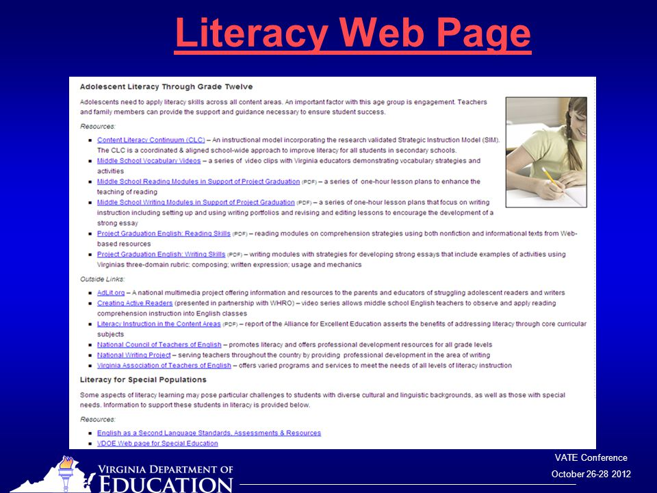 VATE Conference October 26-28 2012 Literacy Web Page