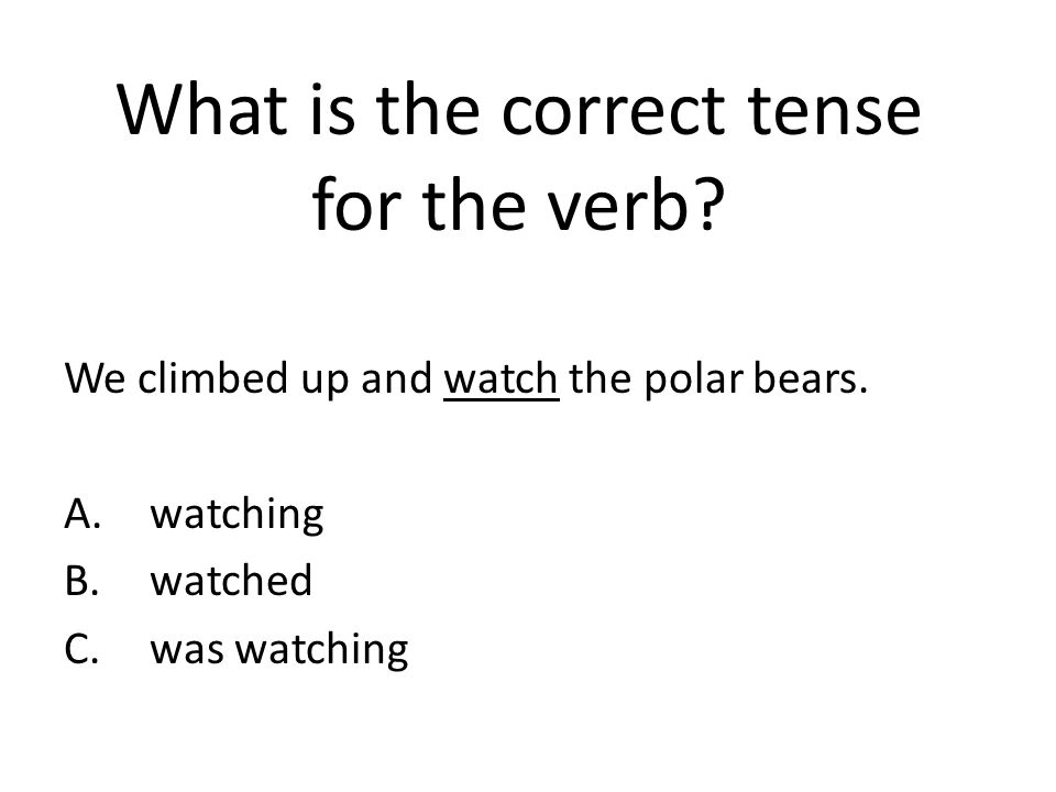 What is the correct tense for the verb.We climbed up and watch the polar bears.