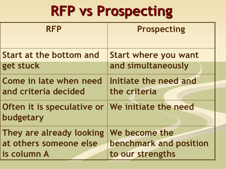 RFP vs Prospecting RFPProspecting Start at the bottom and get stuck Start where you want and simultaneously Come in late when need and criteria decided Initiate the need and the criteria Often it is speculative or budgetary We initiate the need They are already looking at others someone else is column A We become the benchmark and position to our strengths