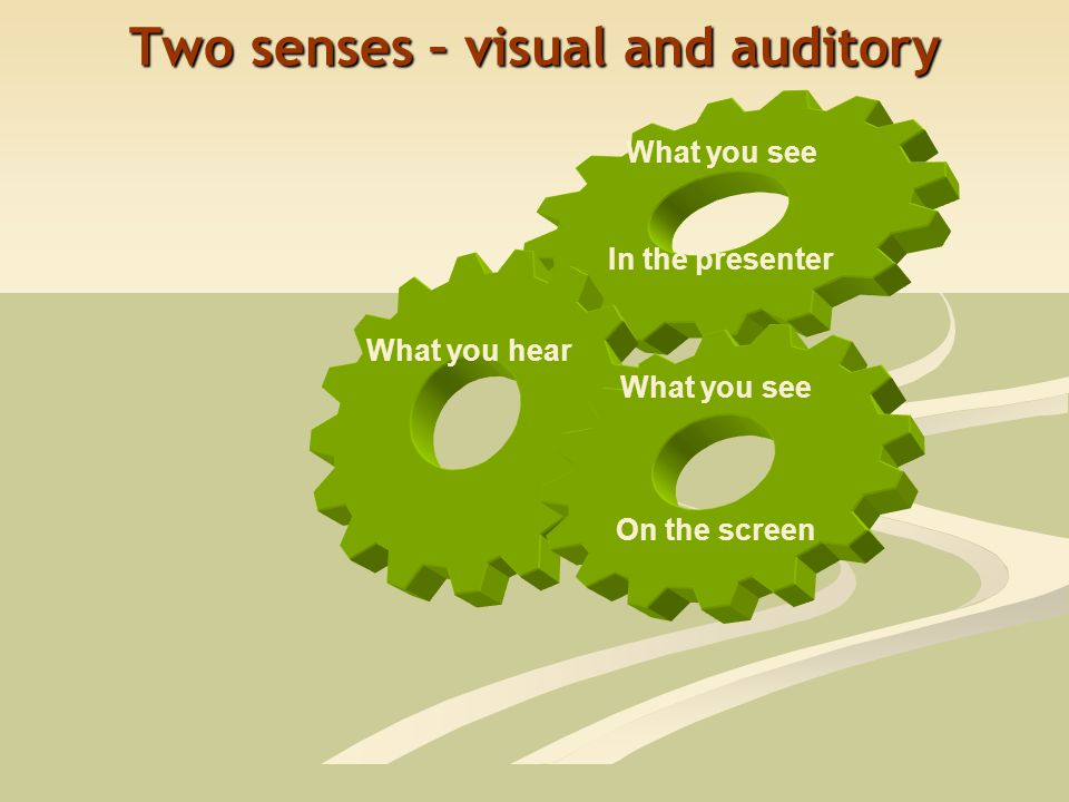 What you see In the presenter What you hear What you see On the screen Two senses – visual and auditory