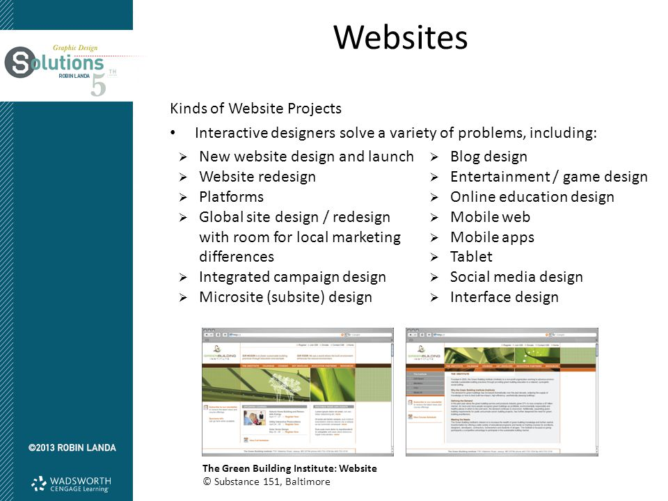 Websites Kinds of Website Projects Interactive designers solve a variety of problems, including:  New website design and launch  Website redesign 