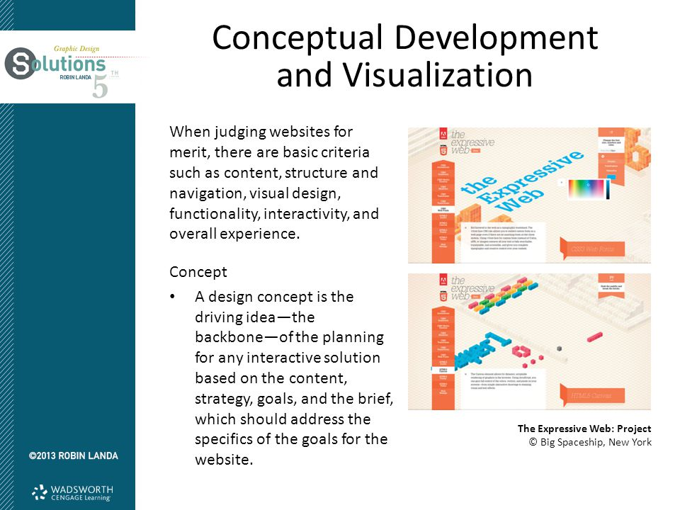 Conceptual Development and Visualization When judging websites for merit, there are basic criteria such as content, structure and navigation, visual d