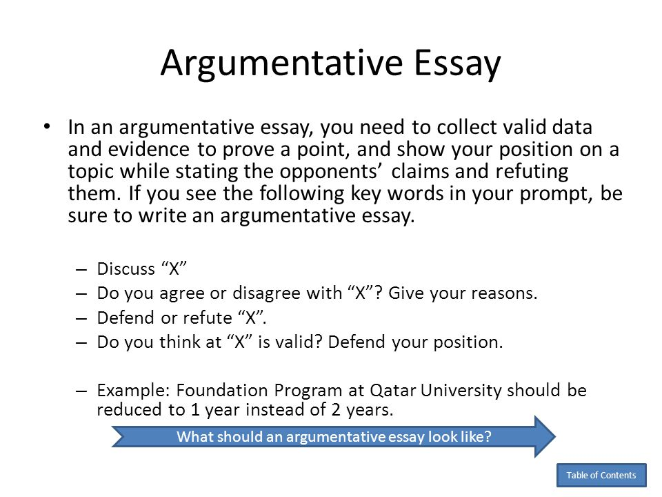 Argumentative Essay Organizational Pattern Introduction and thesis statement: Give a background about what the Foundation Program is then state your position by saying; for example, Foundation program should be reduced to one year instead of two years because of ……..A……, ……B………, and ……….C……….