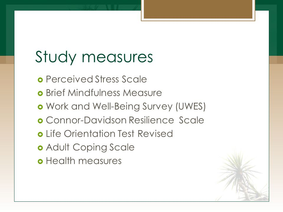 Study measures  Perceived Stress Scale  Brief Mindfulness Measure  Work and Well-Being Survey (UWES)  Connor-Davidson Resilience Scale  Life Orientation Test Revised  Adult Coping Scale  Health measures