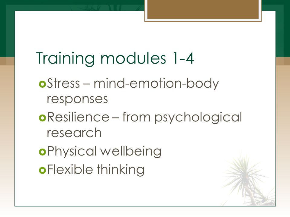 Training modules 1-4  Stress – mind-emotion-body responses  Resilience – from psychological research  Physical wellbeing  Flexible thinking