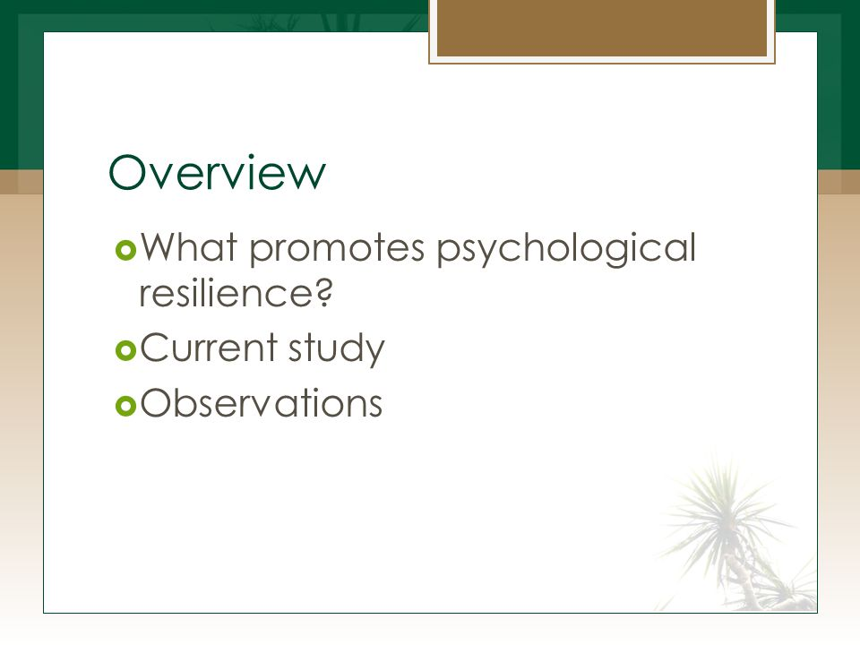 Overview  What promotes psychological resilience?  Current study  Observations