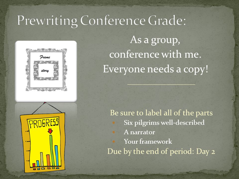 As a group, conference with me. Everyone needs a copy.
