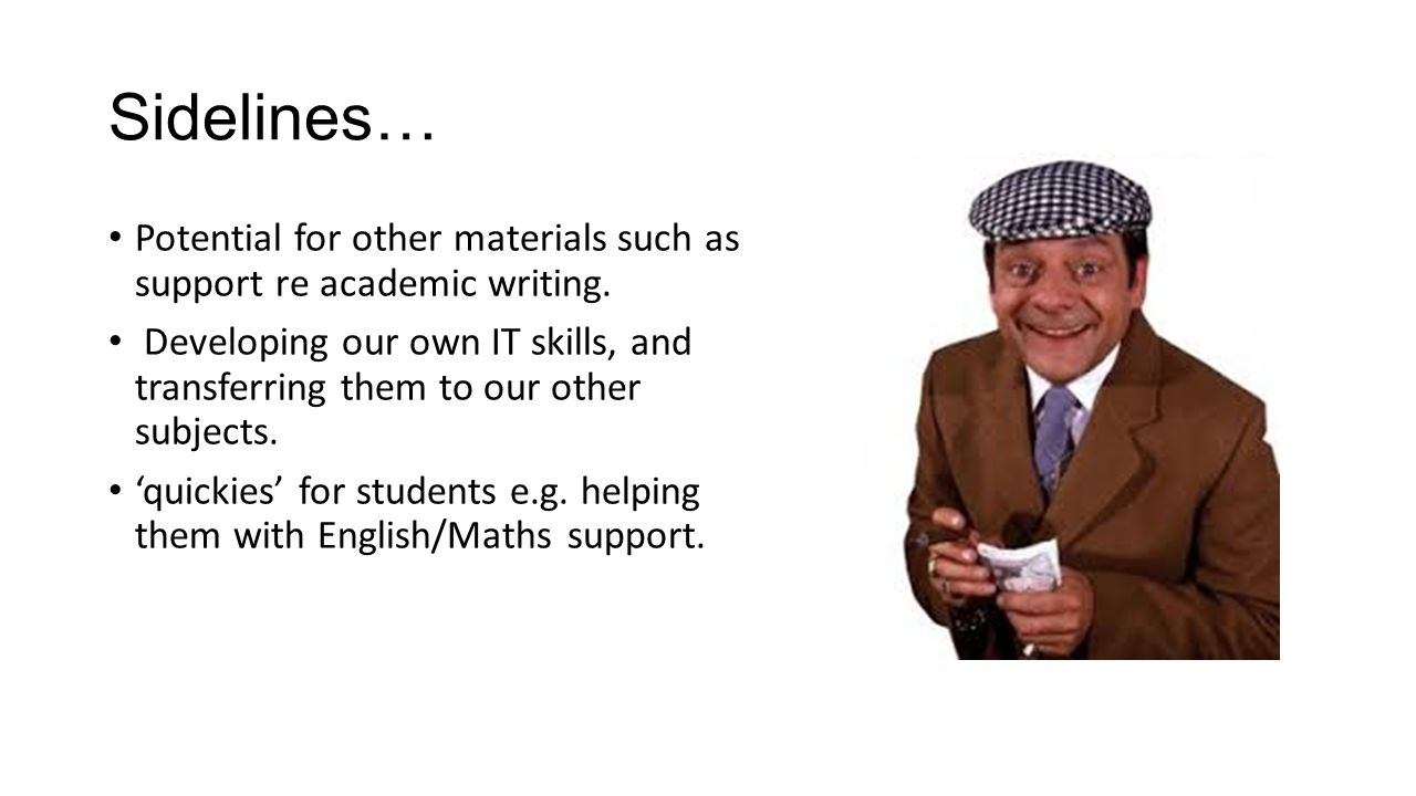 Sidelines… Potential for other materials such as support re academic writing.