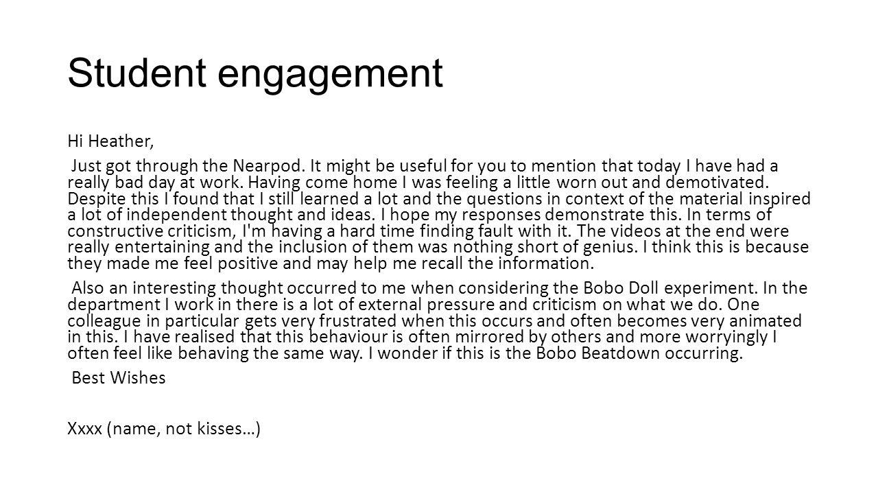 Student engagement Hi Heather, Just got through the Nearpod.
