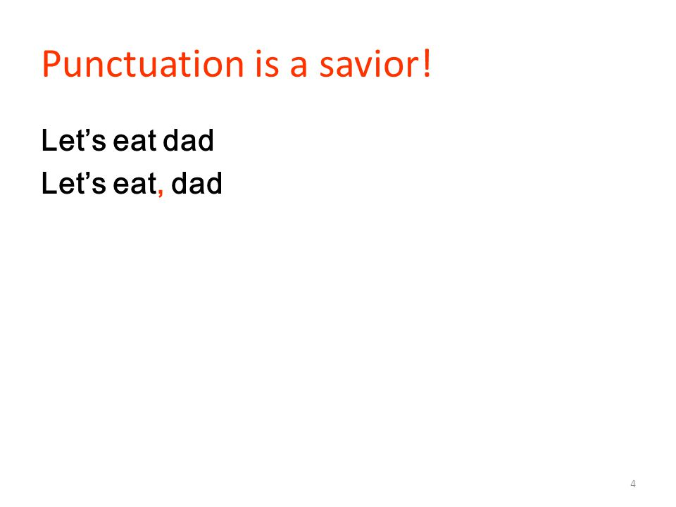 Punctuation is a savior! Let's eat dad Let's eat, dad 4