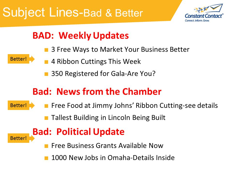 Subject Lines- Bad & Better BAD: Weekly Updates ■ 3 Free Ways to Market Your Business Better ■ 4 Ribbon Cuttings This Week ■ 350 Registered for Gala-Are You.