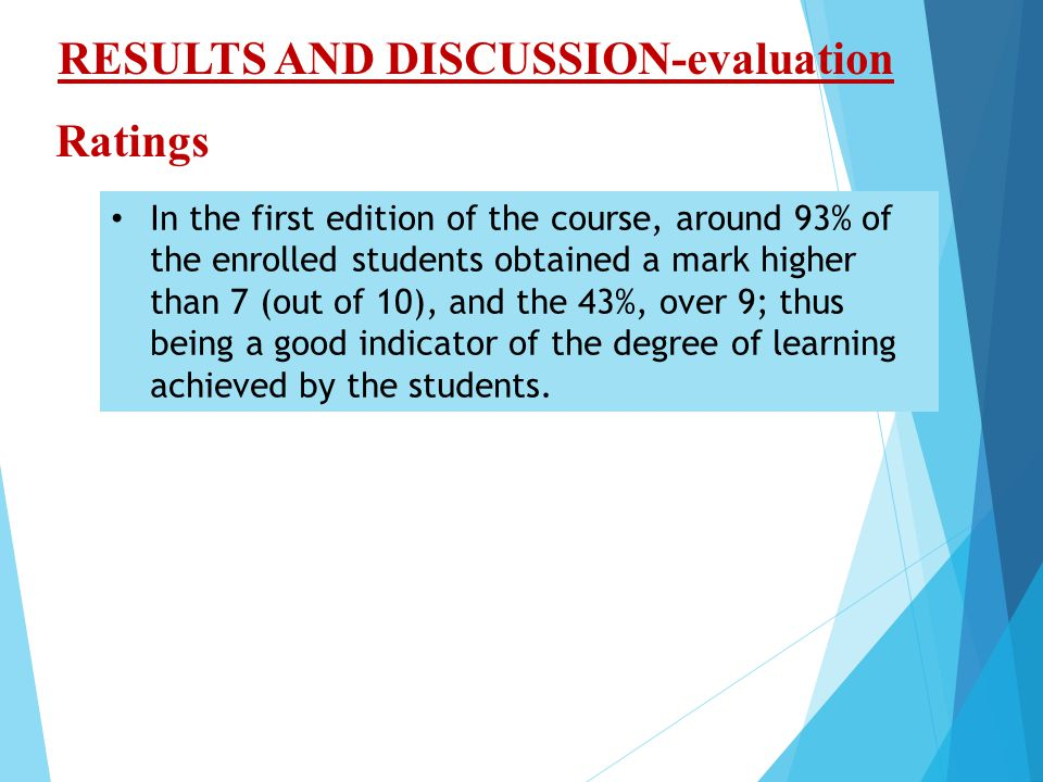 In the first edition of the course, around 93% of the enrolled students obtained a mark higher than 7 (out of 10), and the 43%, over 9; thus being a good indicator of the degree of learning achieved by the students.