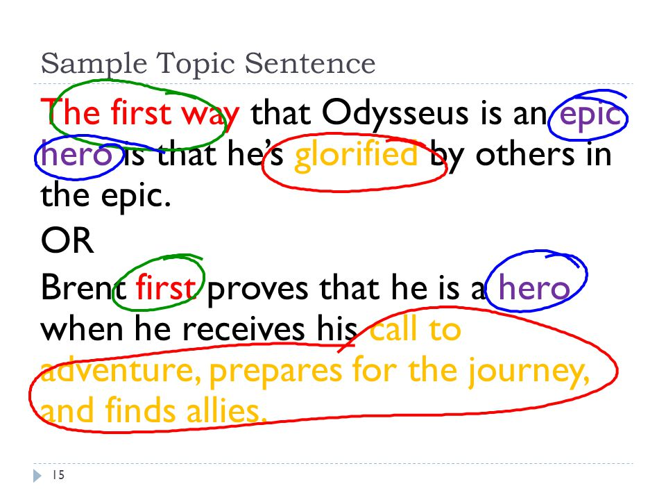 Sample Topic Sentence The first way that Odysseus is an epic hero is that he's glorified by others in the epic.