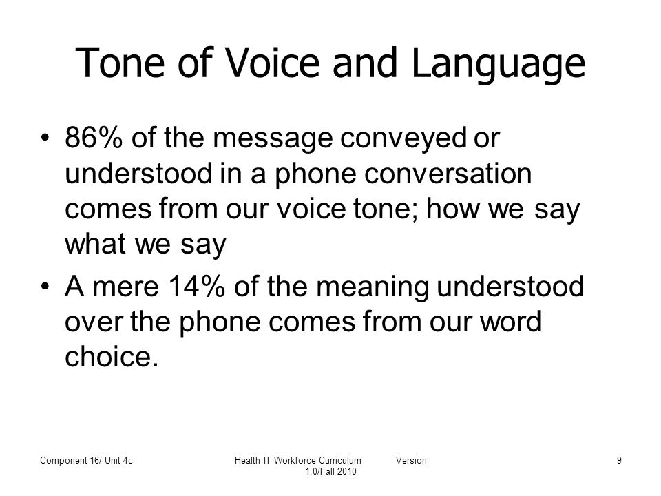 Tone of Voice and Language 86% of the message conveyed or understood in a phone conversation comes from our voice tone; how we say what we say A mere