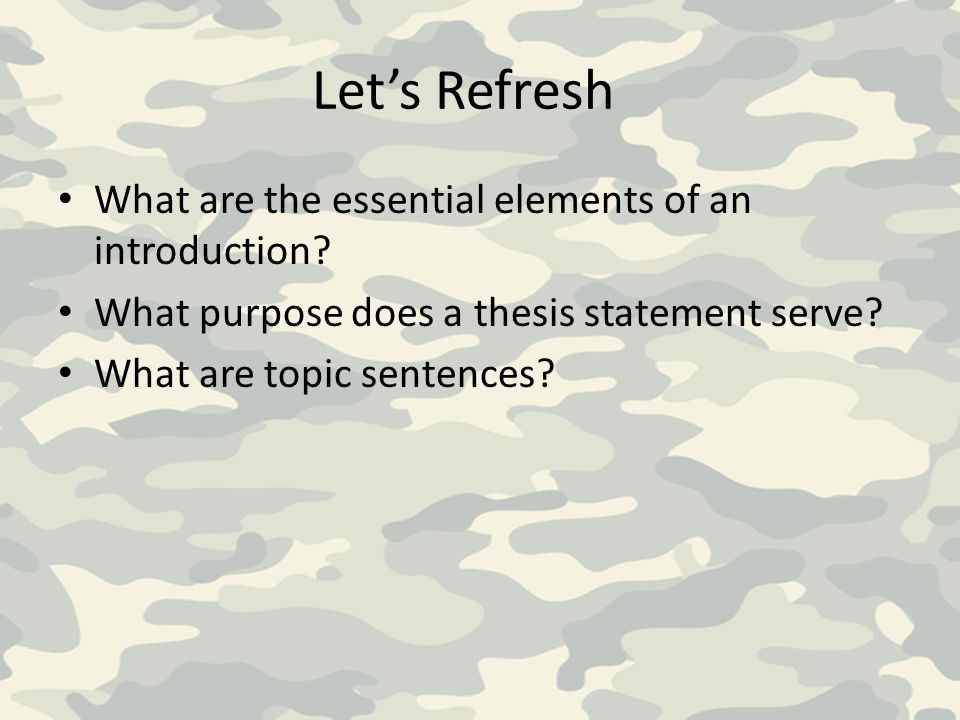 Let's Refresh What are the essential elements of an introduction.