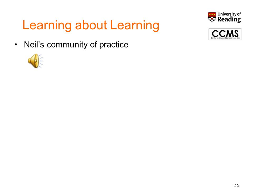 Learning about Learning Neil's community of practice 25