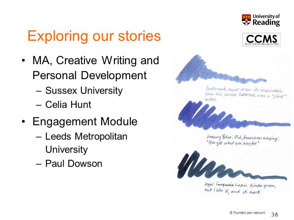 Exploring our stories MA, Creative Writing and Personal Development –Sussex University –Celia Hunt Engagement Module –Leeds Metropolitan University –P