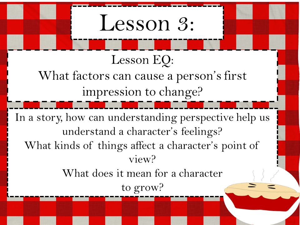 Lesson 3: Lesson EQ: What factors can cause a person's first impression to change.