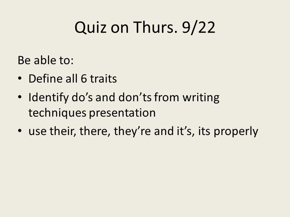 Quiz on Thurs.