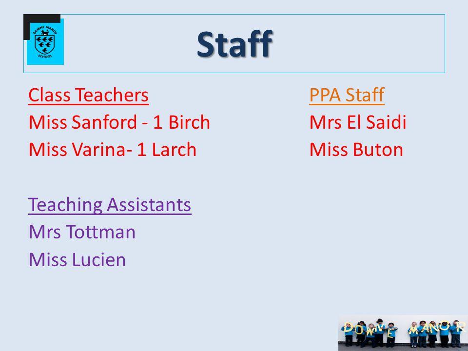 Staff Class TeachersPPA Staff Miss Sanford - 1 Birch Mrs El Saidi Miss Varina- 1 Larch Miss Buton Teaching Assistants Mrs Tottman Miss Lucien