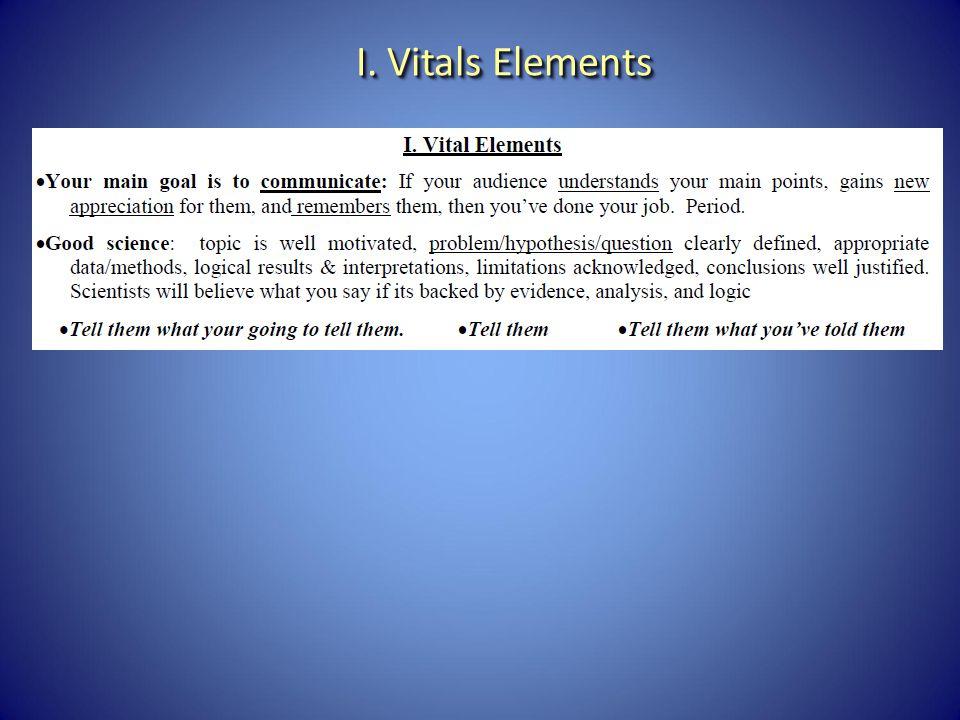 I. Vitals Elements