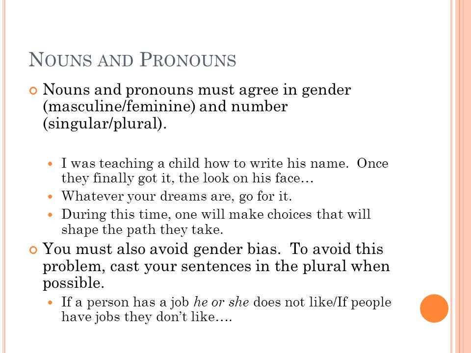 N OUNS AND P RONOUNS Nouns and pronouns must agree in gender (masculine/feminine) and number (singular/plural).