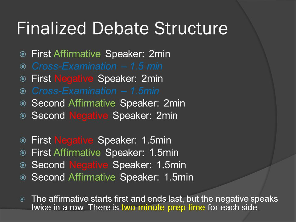 Future Meeting Format  We will switch rigorous debates with casual, friendly debates every other week.