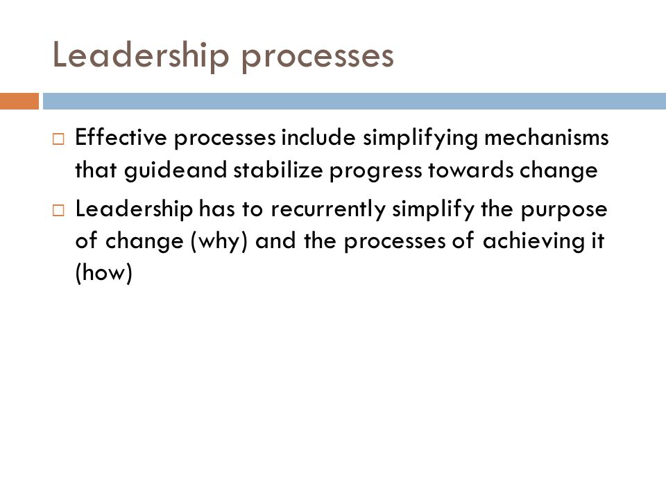 Leadership processes  Effective processes include simplifying mechanisms that guideand stabilize progress towards change  Leadership has to recurrently simplify the purpose of change (why) and the processes of achieving it (how)