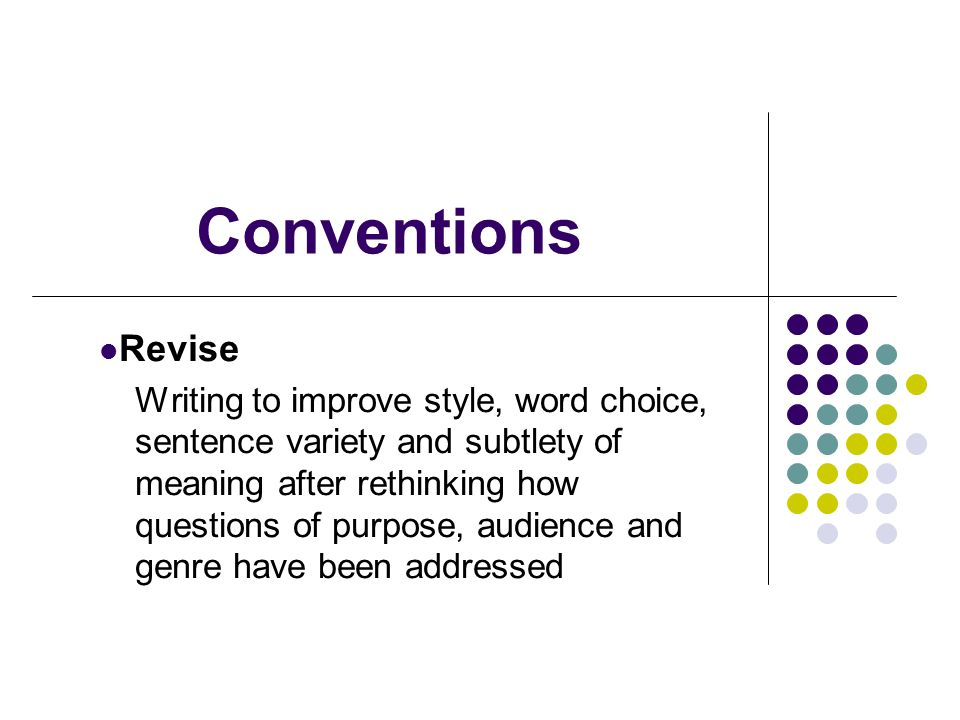 Conventions Edit Spell all words correctly.Use capital letters correctly.