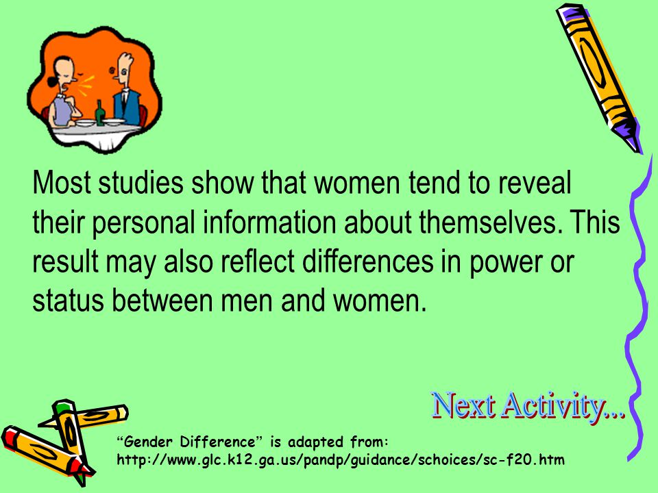 5. Women are more likely to reveal their personal information than men.