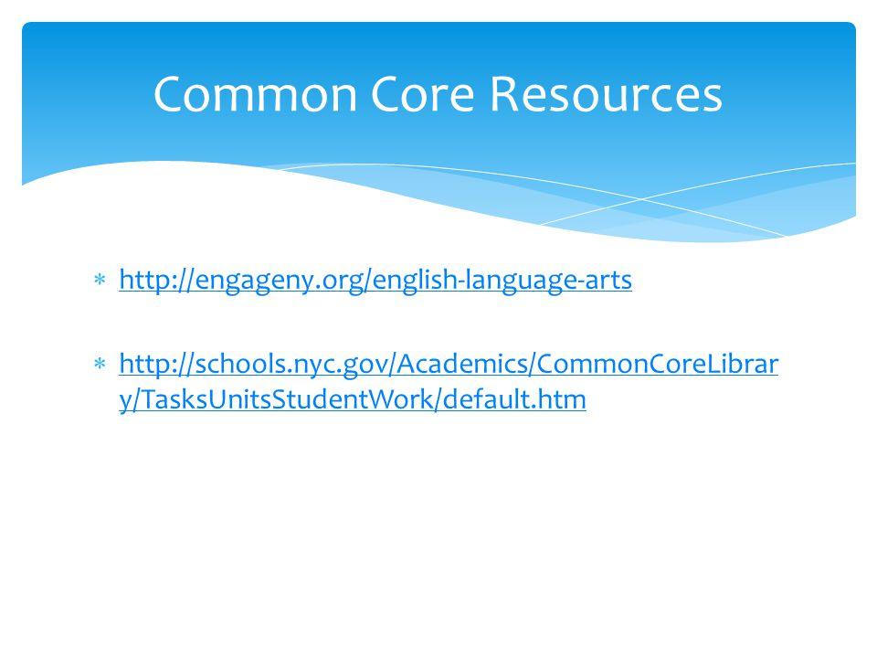  http://engageny.org/english-language-arts http://engageny.org/english-language-arts  http://schools.nyc.gov/Academics/CommonCoreLibrar y/TasksUnitsStudentWork/default.htm http://schools.nyc.gov/Academics/CommonCoreLibrar y/TasksUnitsStudentWork/default.htm Common Core Resources