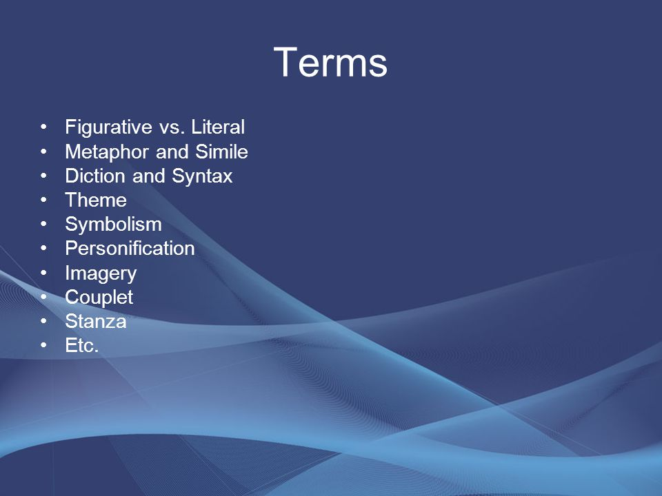 Terms Figurative vs.