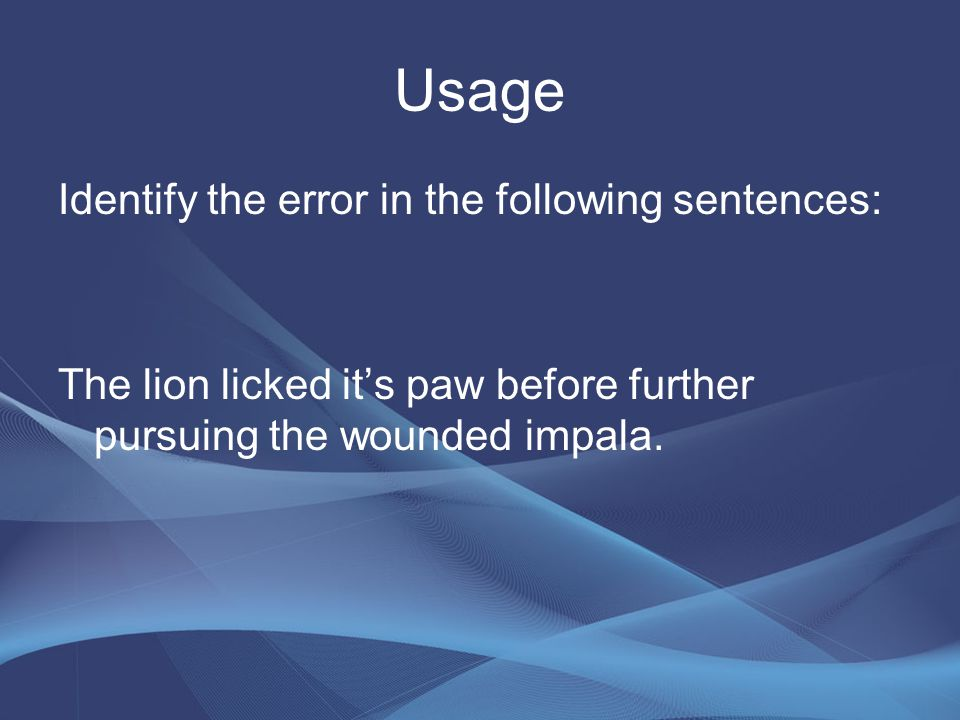 Usage Identify the error in the following sentences: The lion licked it's paw before further pursuing the wounded impala.
