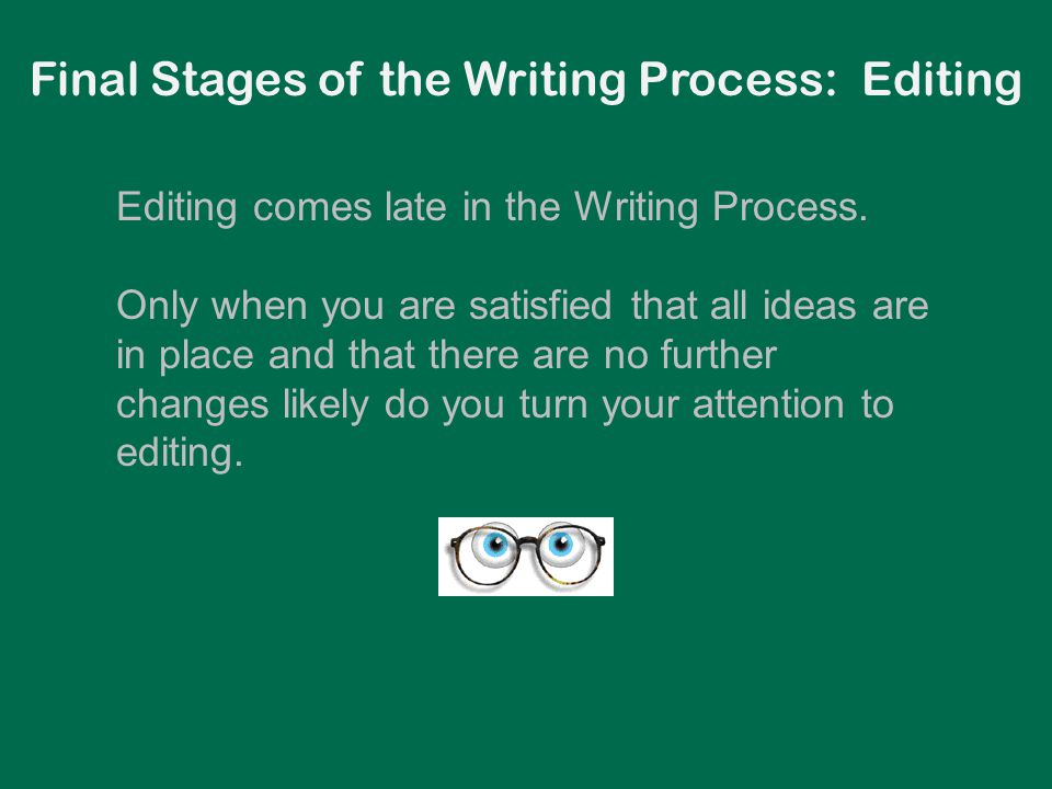 Editing comes late in the Writing Process. Only when you are satisfied that all ideas are in place and that there are no further changes likely do you
