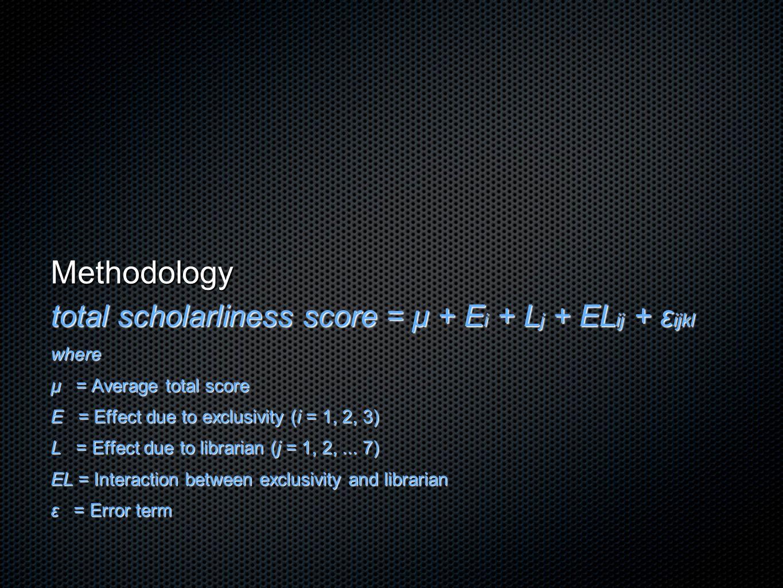 Methodology total scholarliness score = μ + E i + L j + EL ij + ε ijkl where μ = Average total score E = Effect due to exclusivity (i = 1, 2, 3) L = E