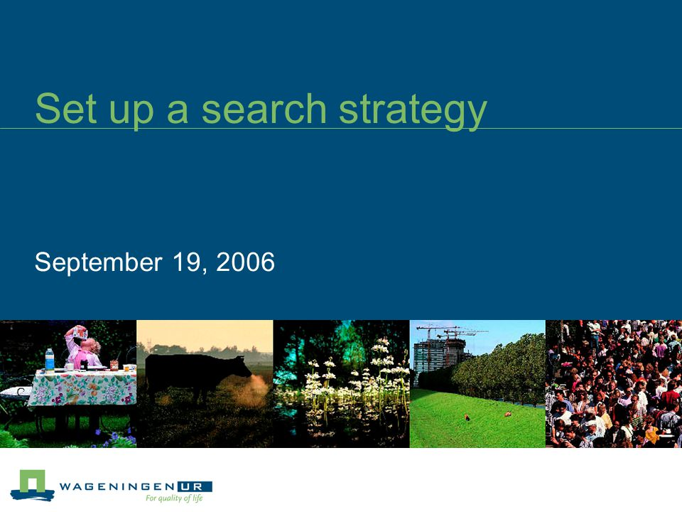 Set up a search strategy September 19, 2006