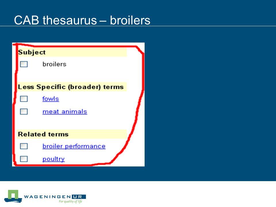 CAB thesaurus – broilers
