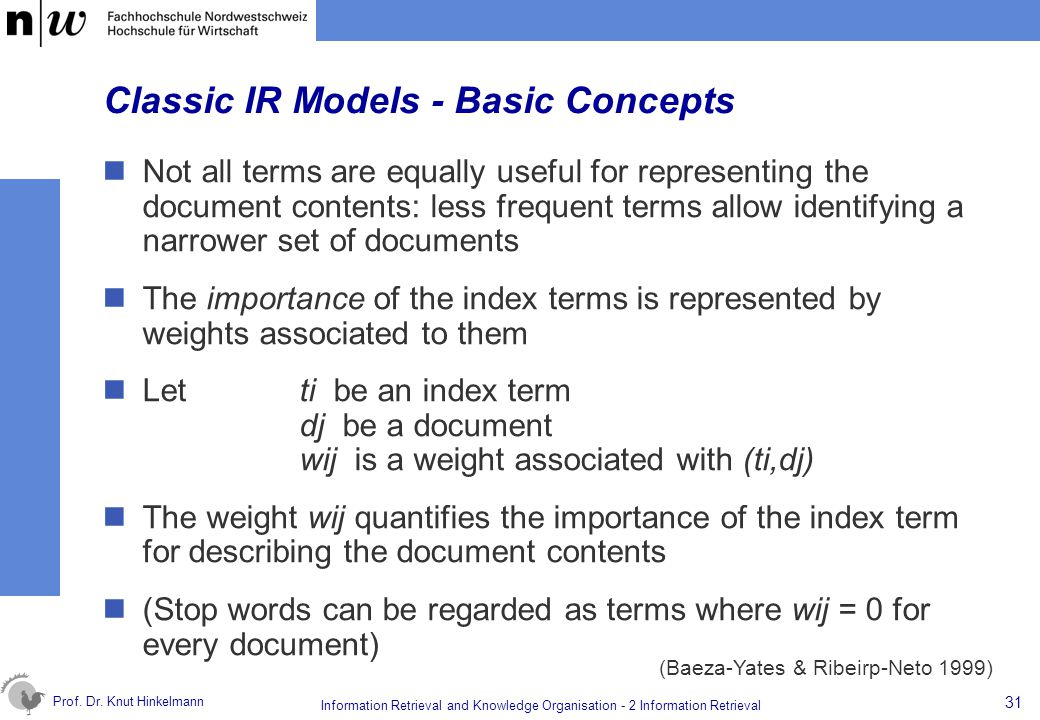 Prof. Dr. Knut Hinkelmann 31 Information Retrieval and Knowledge Organisation - 2 Information Retrieval Classic IR Models - Basic Concepts Not all ter