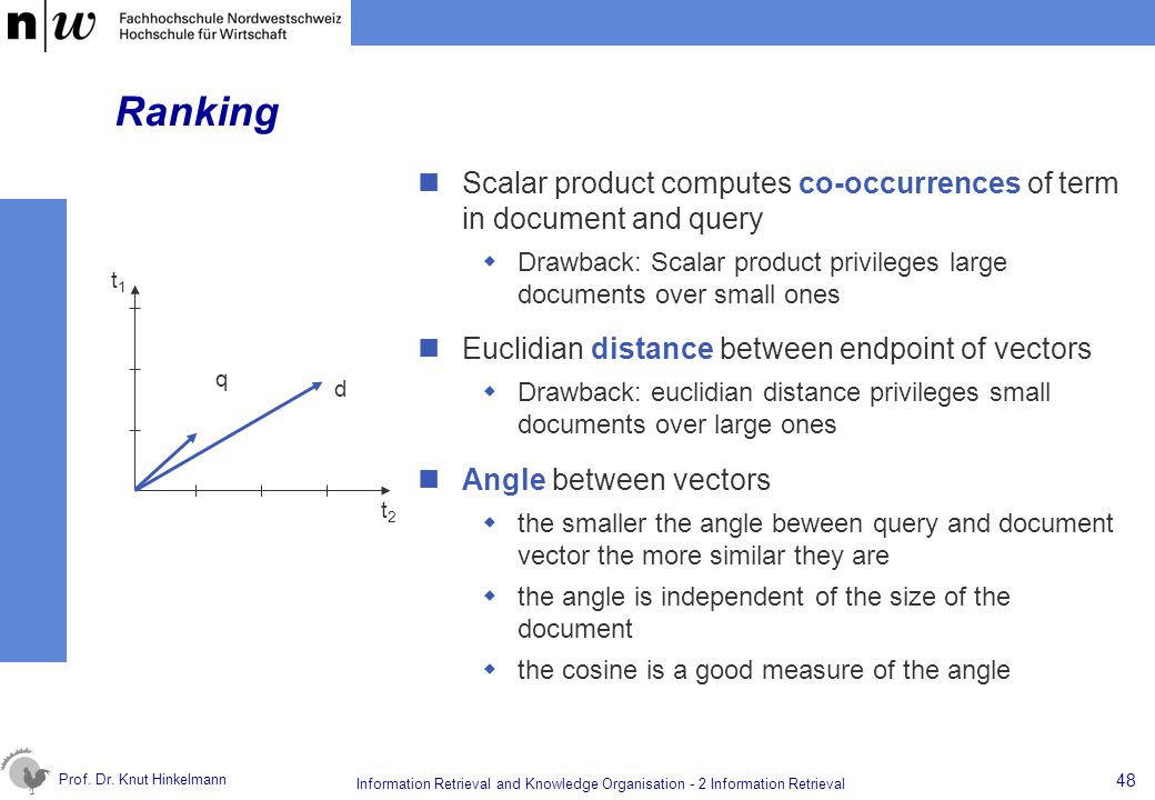 Prof. Dr. Knut Hinkelmann 48 Information Retrieval and Knowledge Organisation - 2 Information Retrieval Ranking Scalar product computes co-occurrences