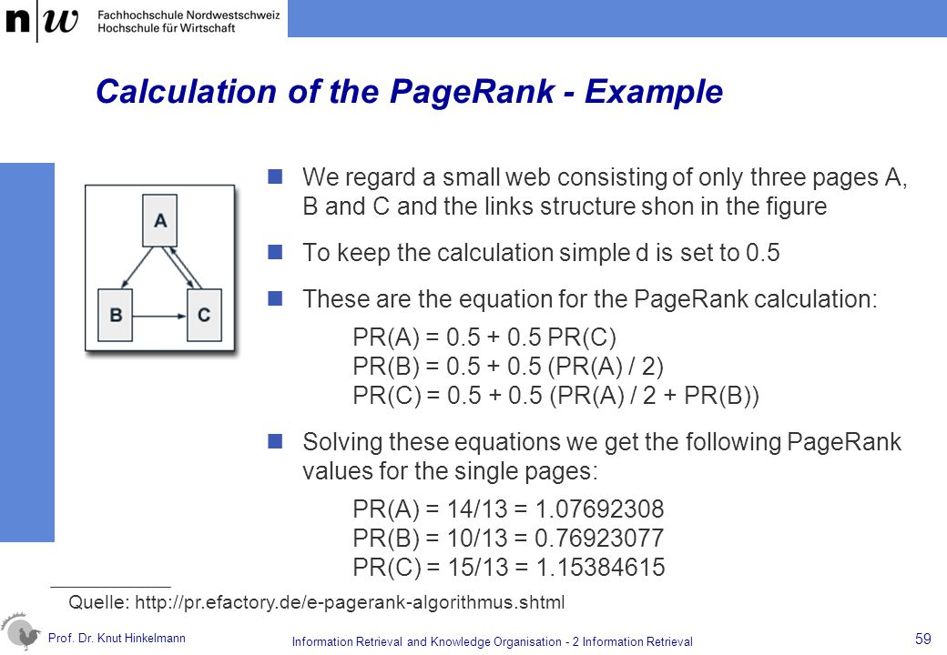 Prof. Dr. Knut Hinkelmann 59 Information Retrieval and Knowledge Organisation - 2 Information Retrieval Calculation of the PageRank - Example We regar
