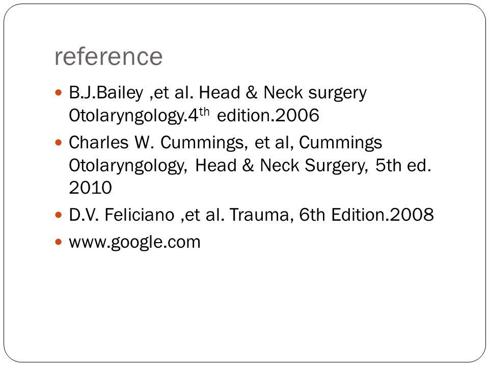 reference B.J.Bailey,et al. Head & Neck surgery Otolaryngology.4 th edition.2006 Charles W. Cummings, et al, Cummings Otolaryngology, Head & Neck Surg