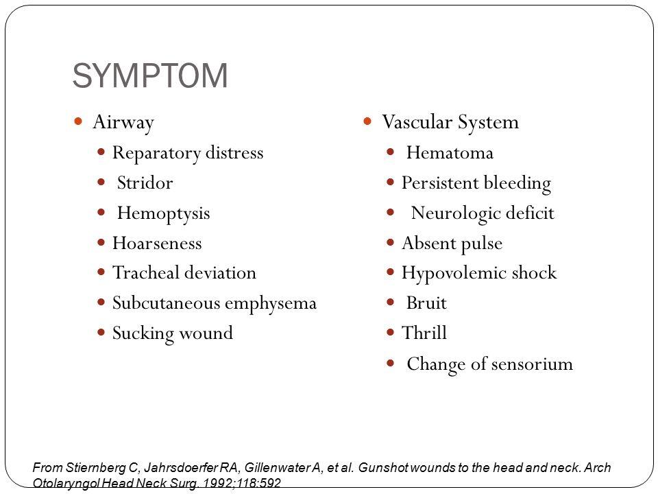 SYMPTOM Airway Reparatory distress Stridor Hemoptysis Hoarseness Tracheal deviation Subcutaneous emphysema Sucking wound Vascular System Hematoma Pers