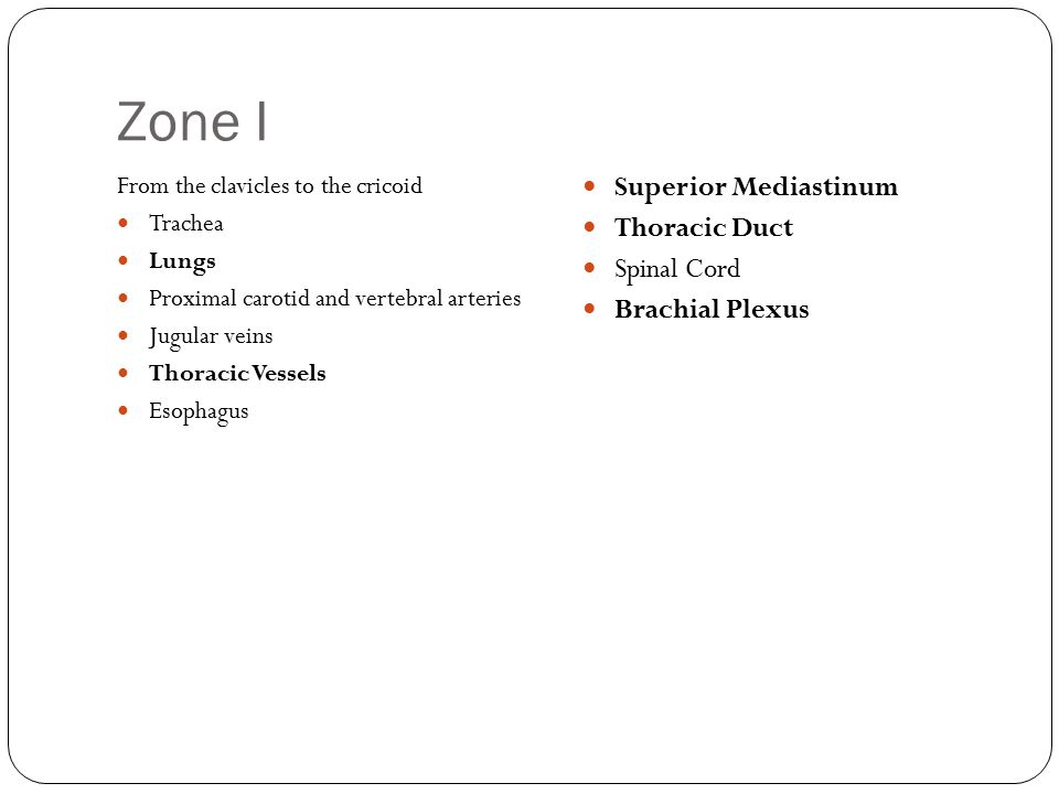 Zone I From the clavicles to the cricoid Trachea Lungs Proximal carotid and vertebral arteries Jugular veins Thoracic Vessels Esophagus Superior Media