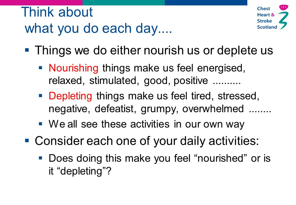 Think about what you do each day....  Things we do either nourish us or deplete us  Nourishing things make us feel energised, relaxed, stimulated, g