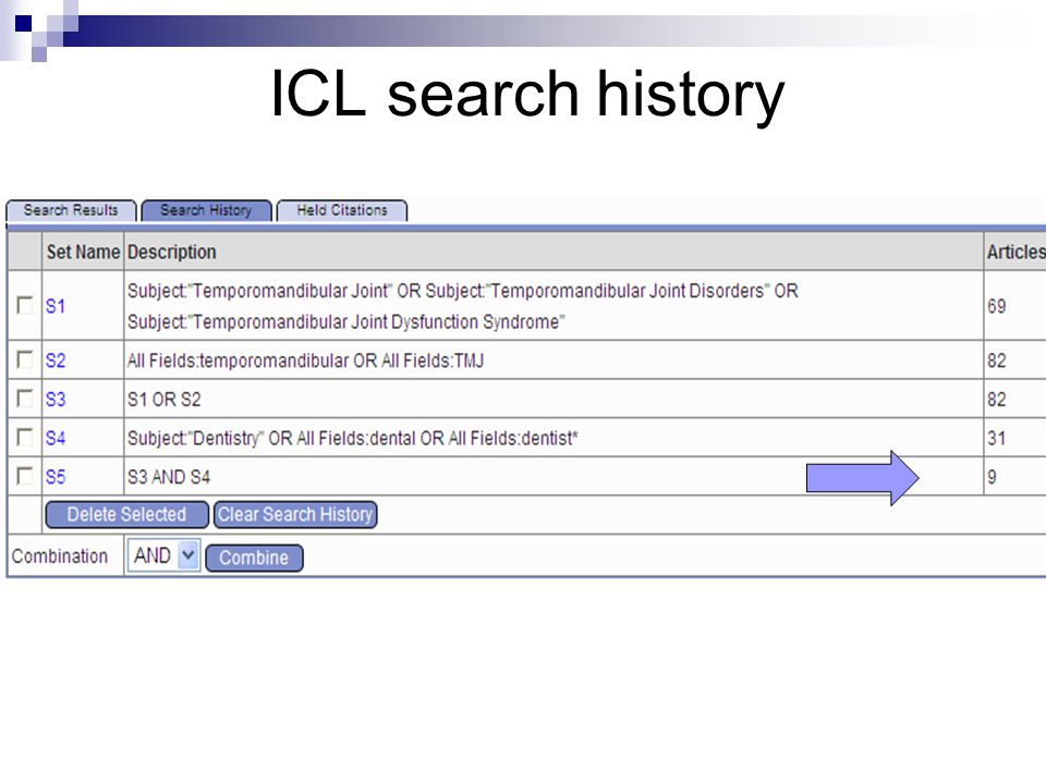 ICL search history
